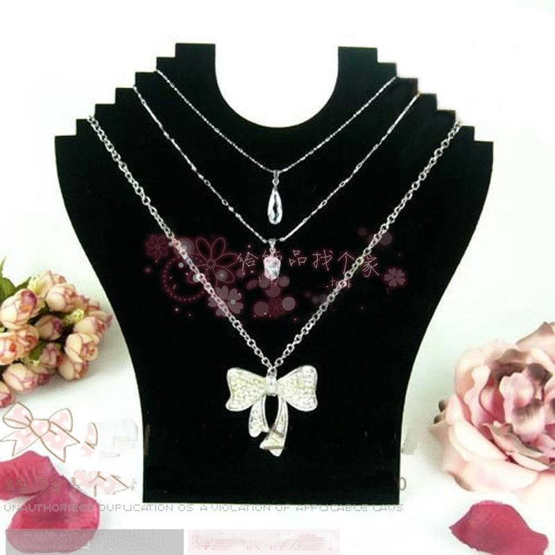 "Free Shipping 9.5""*9"" Black Velvet Necklace Easel Showcase Holder , 2pcs/lot Velvet Jewelry Necklace Display Stand Wholesale(China (Mainland))"