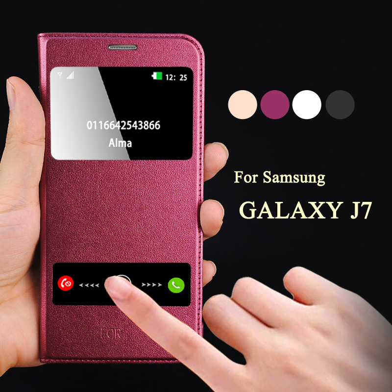 Case Design luxury leather mobile phone cases : Mobile Phone Flip Leather Cover For Galaxy J7 Window Calling-in Phone ...