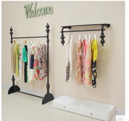 Iron upscale fashion clothing racks on the wall hanger floor-store display shelves for men and women(China (Mainland))