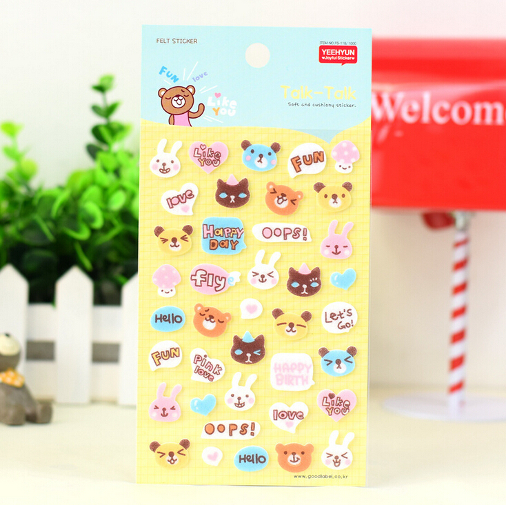 Funny Happy expression Animals Head Felt Self-Adhesive Stickers Diary Notebook Stickers Decoration Stickers FOD(China (Mainland))