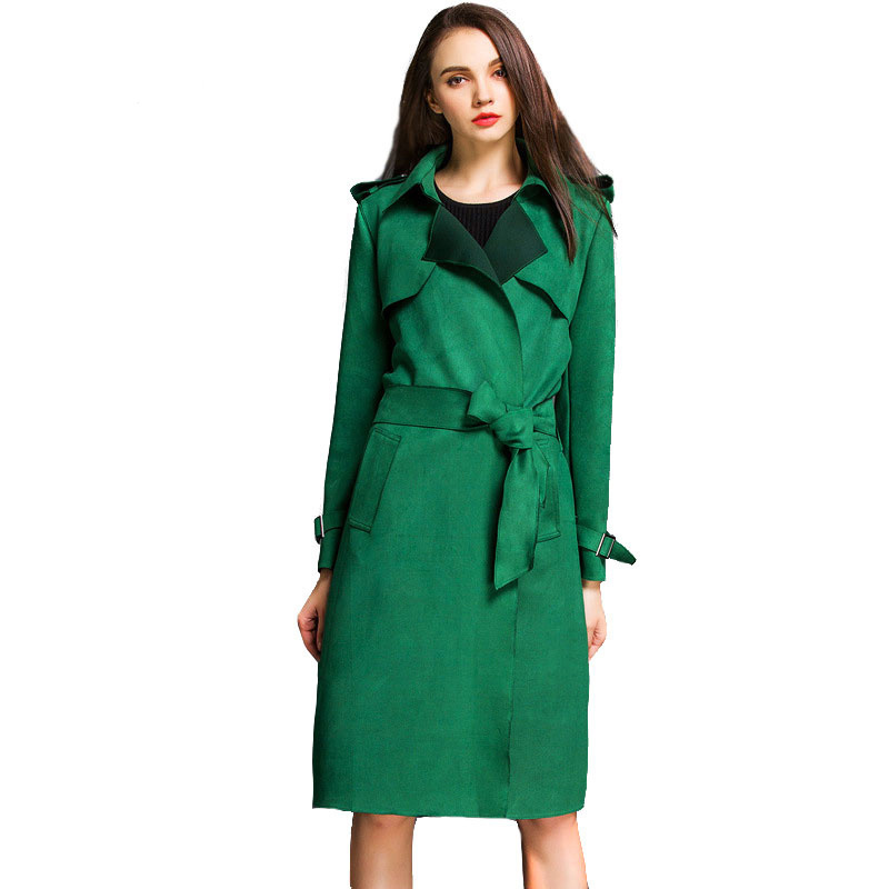 2016 New Vintage Women Solid Faux Suede Trench Coat Spring Fall Fashion Slim Jackets Female Belted Lapel Long Trench Coat ZJ354