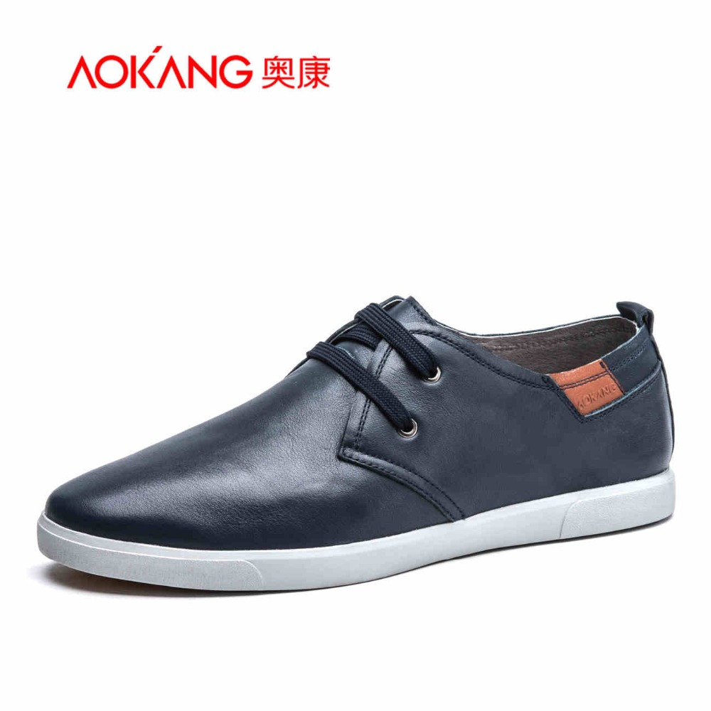 Фотография AOKANG 2016 Brand Men Casual Shoes Genuine Leather Hollow Summer Men Flats Zapatos Non-Slip Resistant To Bending Cool Men Shoes