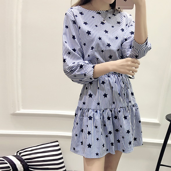 Large size high quality women dress bandage slim dress plus size women clothing vestidos striped and star print dresses WD307(China (Mainland))