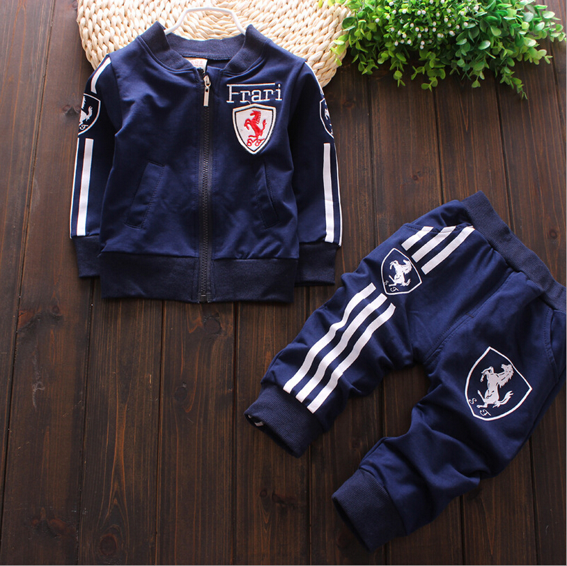 2015 autumn/winter New baby cotton cardigan sport suit, the boy girl brand leisure suits, children's outdoor sports wear(China (Mainland))