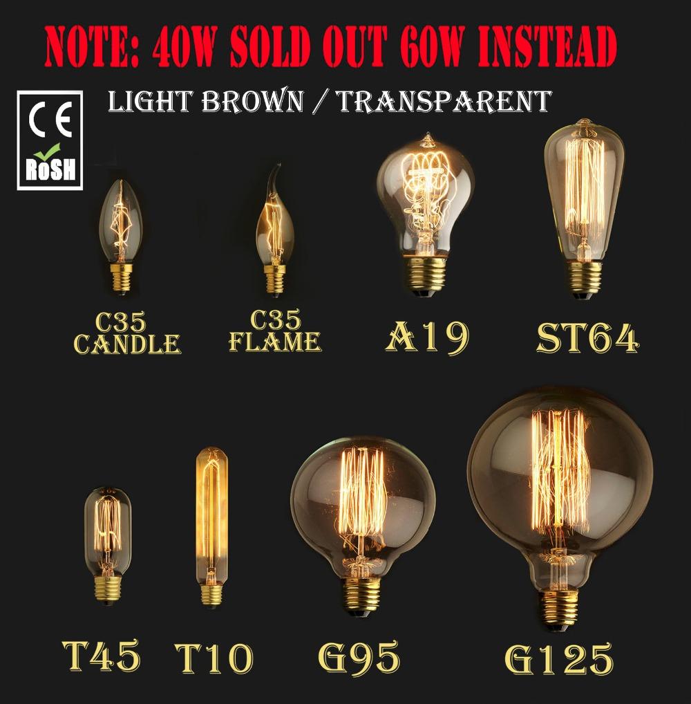 60W 40W Vintage Antique Retro Style Lighting Filament Edison Lamp Light Bulb E27 110V 220V G125 G95 ST64 T45 A19 T10(China (Mainland))