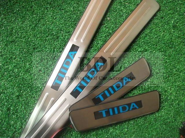 2008-2011 NISSAN TIIDA Stainless Steel Car LED Scuff Plate/Door Sill/Door Pedal,4pcs/pack Retail& - SHENZHEN MAUTOC CO.,LTD store