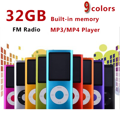 slim 4th gen mp4 player 32GB 9 Colors for choose Music playing time 30Hours fm radio video player(China (Mainland))