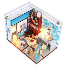 Hot sale DIY Model Assemble Villa Doll Home/ children toy Doraemon Nobita's room/ Wooden Miniature Dollhouse for Kids' gifts