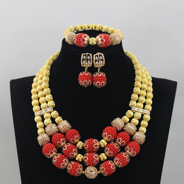 Charming African Bridal Gold Necklace Set Handmade Red Chunky Women Celebration Event Lace Jewelry Set Gifts Free Shipping QW640(China (Mainland))