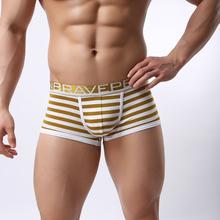 [Brave Person] New Fashion Men Boxer Shorts Cotton Underwear Fabric Cotton Low Waist Striped Underpants 4 Color BP00431155(China (Mainland))