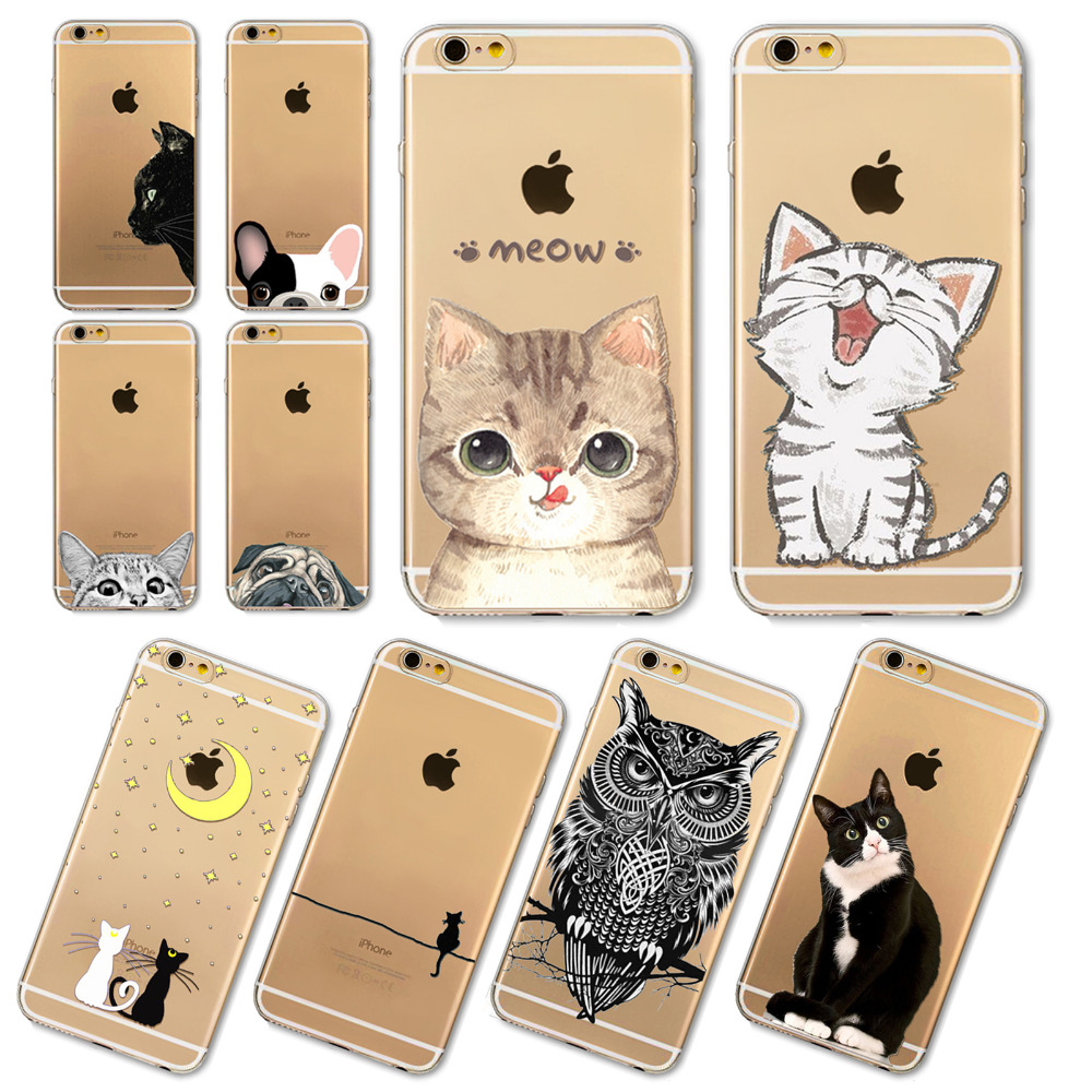 Phone Cases For Apple iPhone 6 6S Plus 6Plus 4 4S 5 5S SE 5C Soft Silicon Transparent Cute Cat Dog Owl Animal Cover Case Capa(China (Mainland))