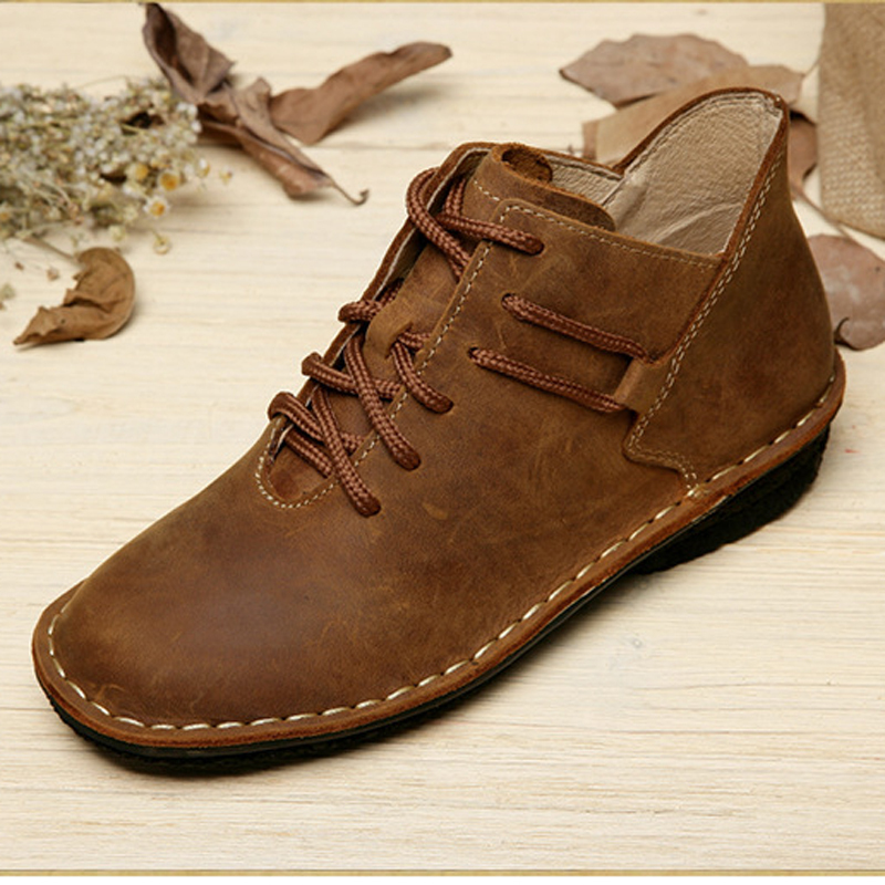Гаджет  Handmade Flat Shoes Genuine Leather Lace up Oxford Shoes Vintage Burnish Leather Moccasins Ladies Flats (985) None Обувь