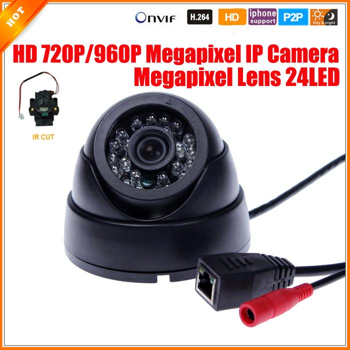 Mini HD Megapixel IP Camera Indoor Dome Camera Security 720P/960P 1.0/1.3MP IP Camera IR Cut Filter 24 IR LED 3518E 25fps ONVIF(China (Mainland))