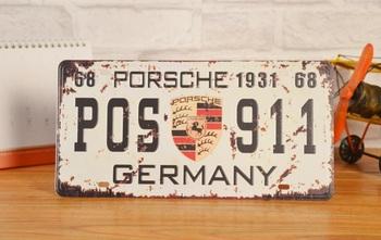 911 GERMANY LISENCE CAR PLATE Vintage Tin Sign Bar pub home Wall Decor Retro Metal Art Poster