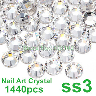Super Shiny 1440PCS SS3 (1.3-1.4mm) Clear Glitter Non Hotfix Crystal Color 3D Nail Art Decorations Flatback Rhinestones(China (Mainland))