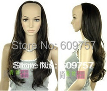 Imitate Human Remy Hair wigs Full Wow! Front hot-Lady roll bulkness half fashion female dark brown wave wig 3/4 wigs
