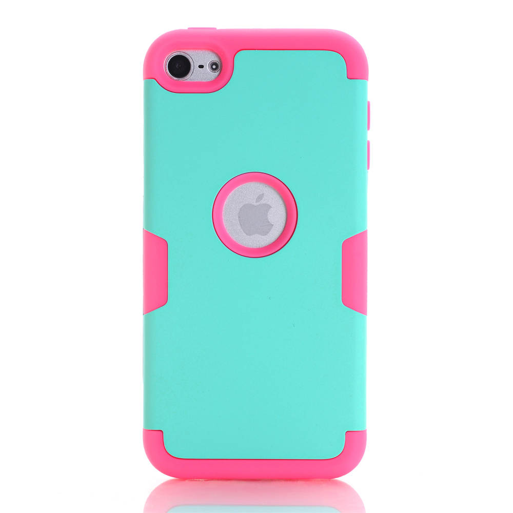Nice Colorful Silicone Varnish 3 in 1 Hard Case Cover For Apple iPod Touch 6 Touch6 Anti-knock Pink Shell Coque(China (Mainland))