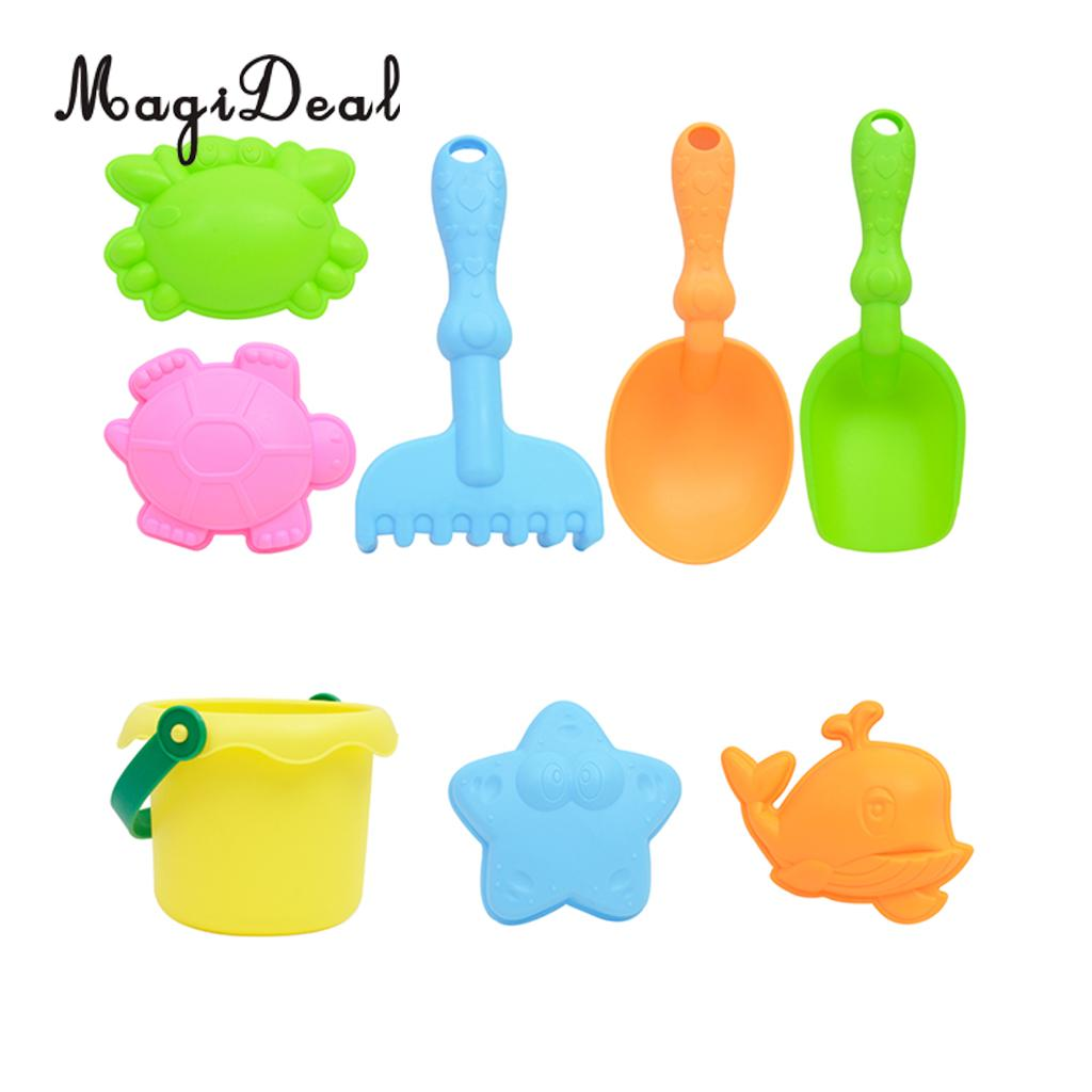 8-Piece Beach Sand Toy Set Bathing Toy for Kids Children - Bucket, Sand Shovels, Sand Rakes, Molds & More