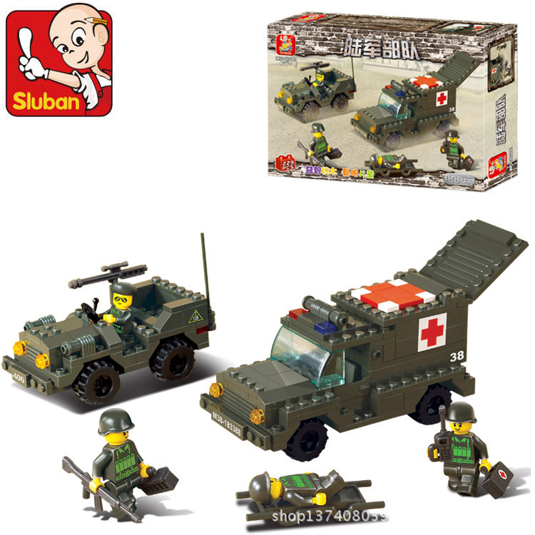Building Block Set Compatible with lego military Army ambulances 229 pcs 3D Construction Brick Educational Hobbies Toys for Kids(China (Mainland))