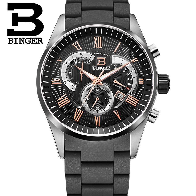 Здесь можно купить  NEW BINGER three small circle chronograph automatic mens watches top brand luxury silicone sports wristwatches waterproof  Ювелирные изделия и часы