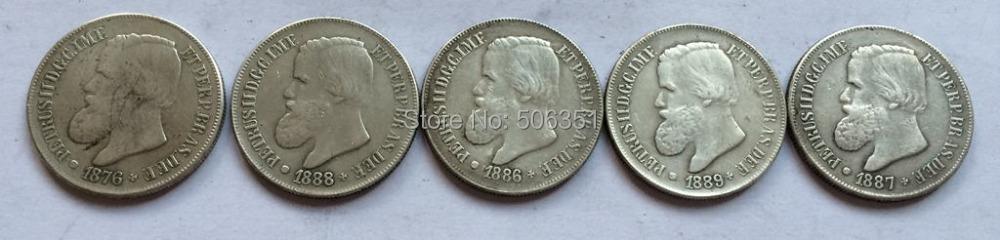 оптом Бразилия 500 рейс <1876-1889> 5 монет