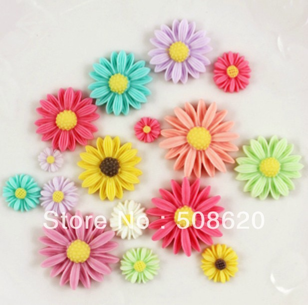 50 Resin Sunflower Flatback Cabochon Scrapbook Embellishments Mixed Size/Color(China (Mainland))