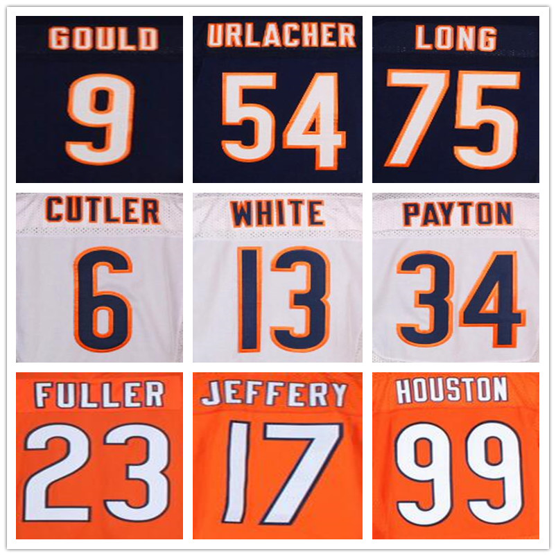 34 Walter Payton jersey 17 Alshon Jeffery 75 Kyle Long throwback jersey 6 Jay Cutler blue jersey 54 Brian Urlacher Robbie Gould(China (Mainland))