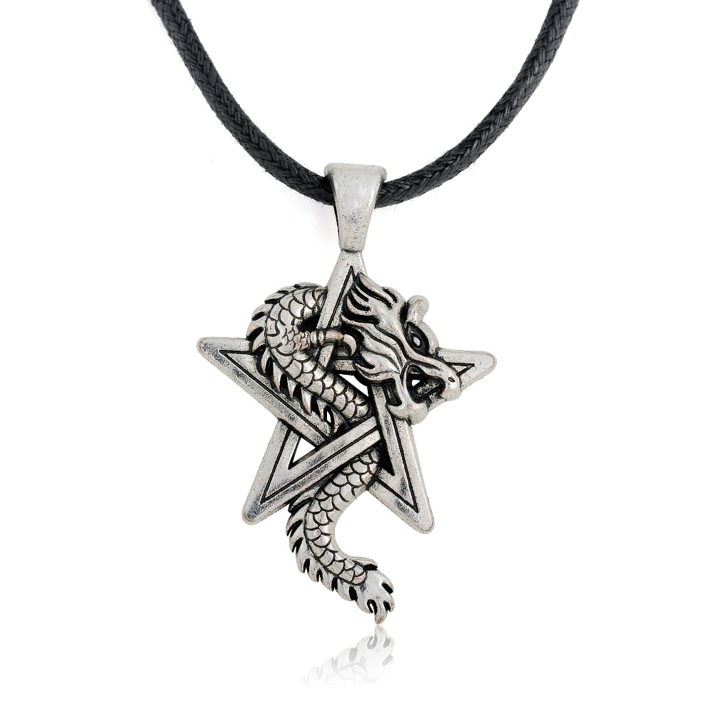 Pewter Dragon on Pentacle Pentagram Star Gothic Fantasy Pendant Mens Leather Necklace(China (Mainland))