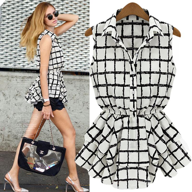 Striped Blouse Black And White Plaid Dress Shirt