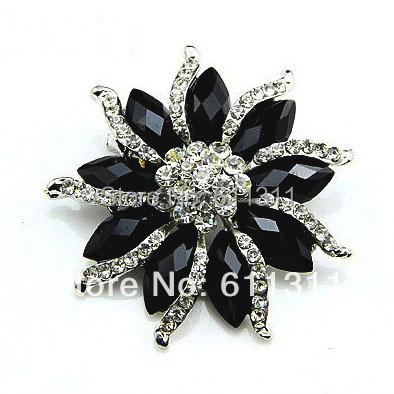 No Minimum Limitation!! 1 Piece Retail!Free Shipping Fashion Rhodium Plated Vintage Style Black Rhinestone Flower Brooch(China (Mainland))