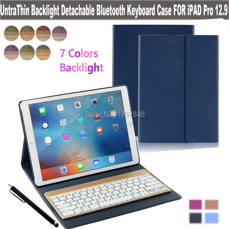 "Фотография 7 Color Backlight Folio Keyboard Case For Apple iPad Pro 12.9"" Pu Leather Stand Cover w/ Detachable Wireless Bluetooth Keyboard"