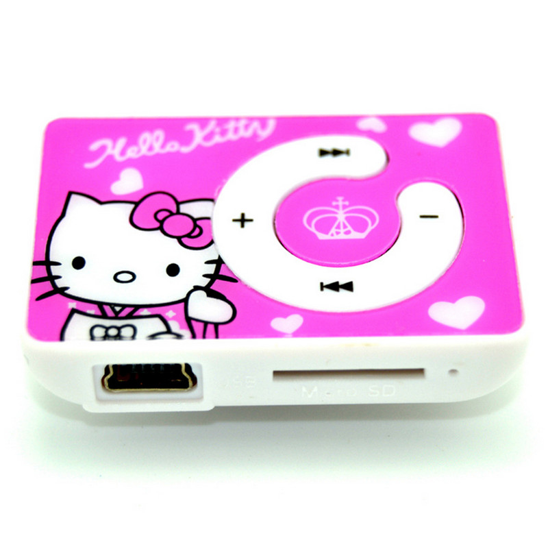 Free Shipping Lowest Price Cartoon Hello Kitty MP3 Music Mini Clip Player With TF/SD Card Slot Support 8GB Memory(China (Mainland))