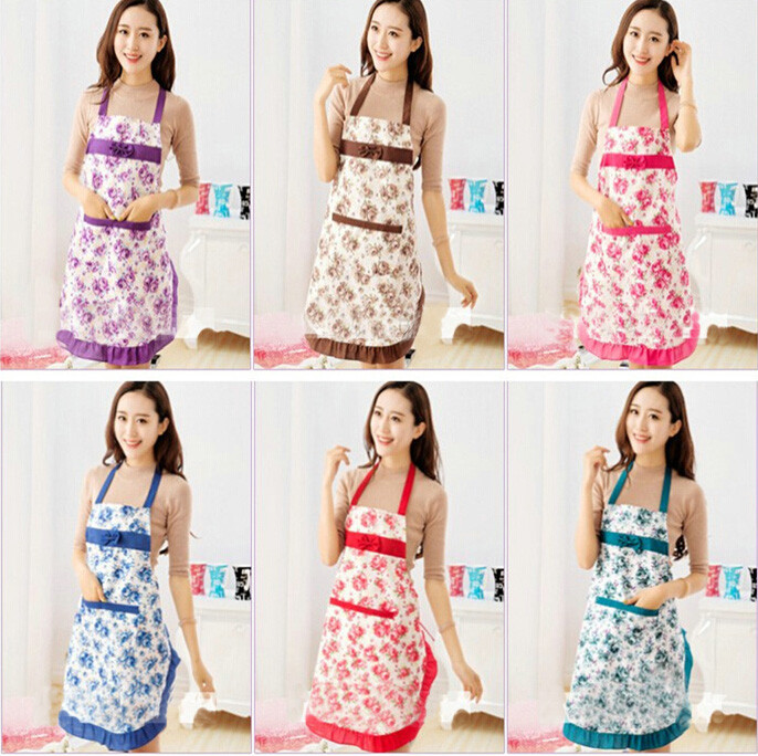 New 2016 Convenient Women's Waterproof Housewife Kitchen Waist Aprons Jeanette Floral(China (Mainland))