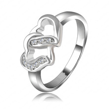 love Ring Real Platinum Plated Double Heart Shaped Austrian Crystal Rings Jewelry For Lover Ri-HQ1067-B(China (Mainland))
