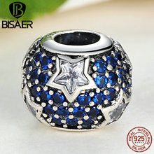 925 Sterling Silver Follow The Stars Charm Fit Pandora Original Bracelet With Clear Cubic Zirconia Midnight Blue Crystal AS072(China (Mainland))