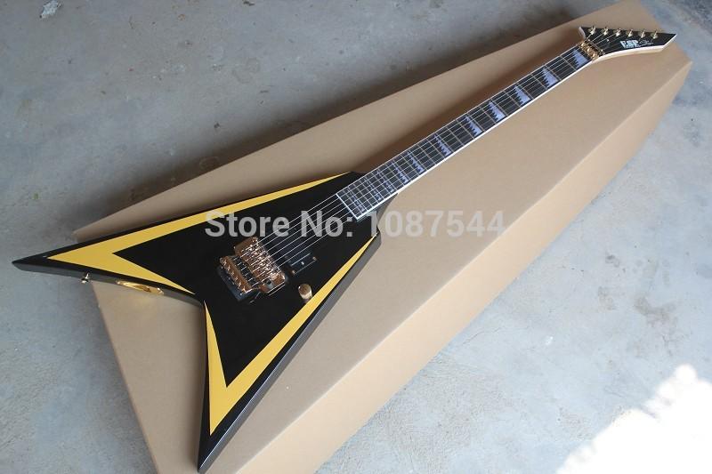 Free Shipping hot Wholesale ESP Custom Flying V James Hetfield Black Electric Guitar with Vibrato(China (Mainland))