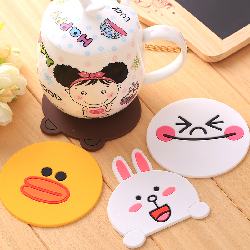 1pcs Cute Anime Silicone Coffee Placemat Cartoon Drink Coaster Cup Glass Beverage Holder Pad Mat(China (Mainland))