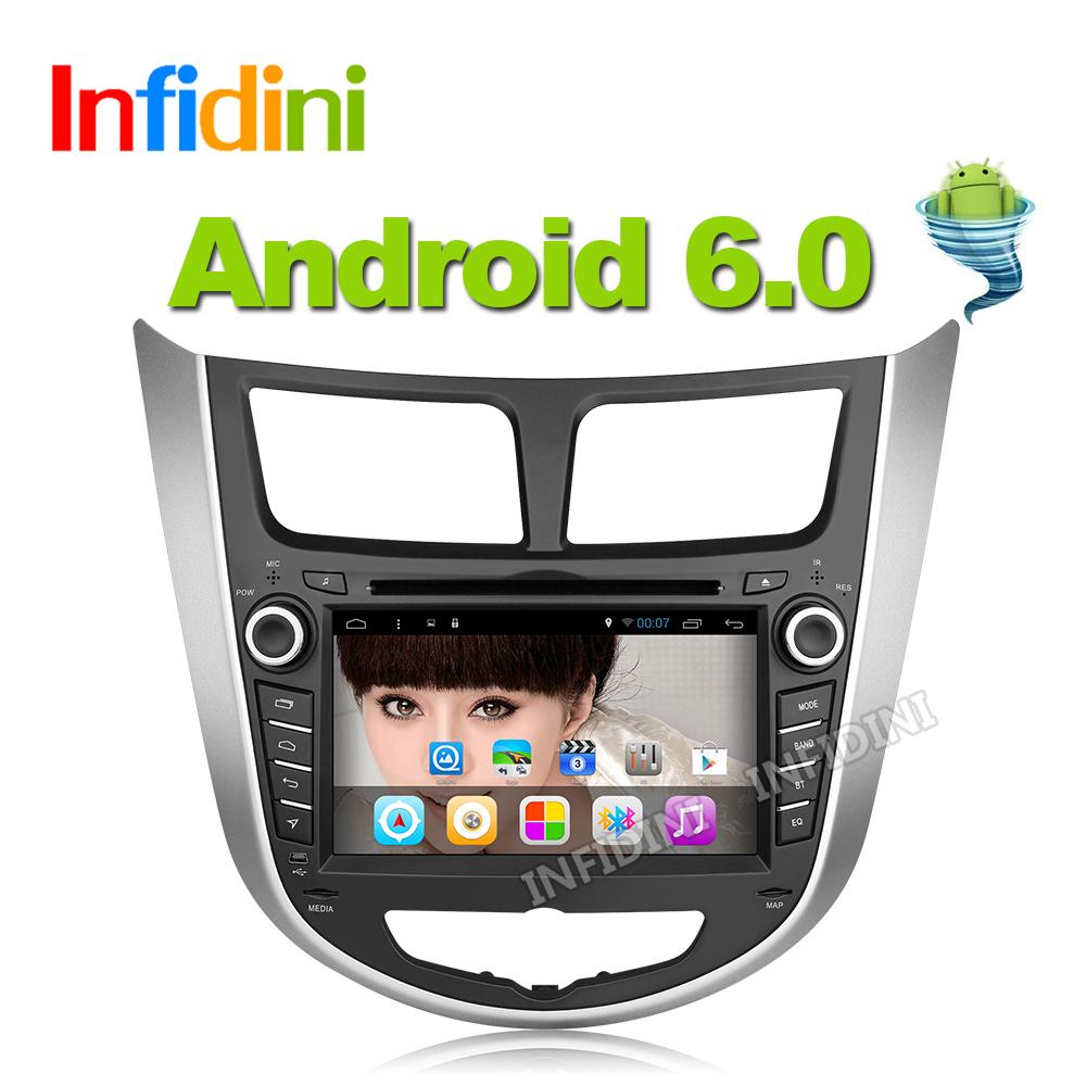 android 6.0 car gps radio video audio player 2 din gps for Hyundai Solaris Verna 2011 2012 2013 2014 2015 car dvd gps navigation(China (Mainland))