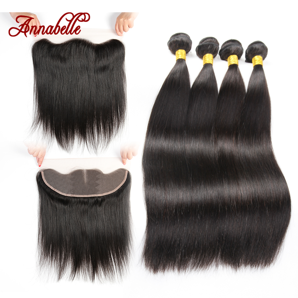 8A Brazilian Virgin Hair Straight 13x4 ear to ear Lace Frontal Closure With Bundles,4 Bundles Human Hair Weaves And Closures(China (Mainland))
