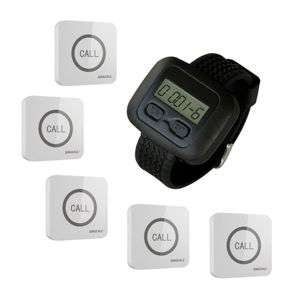 SINGCALL.Wireless Nursing System for Hospital,Hotel,Restaurant 1 watch receiver, 5 touchable bells,Buttons(China (Mainland))
