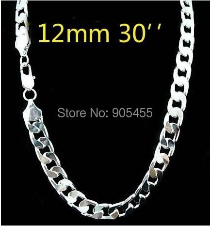 Бесплатная доставка! Оптовая продажа 925 серебряных 12 мм обуздать мужская цепи ожерелье для мужчин 30