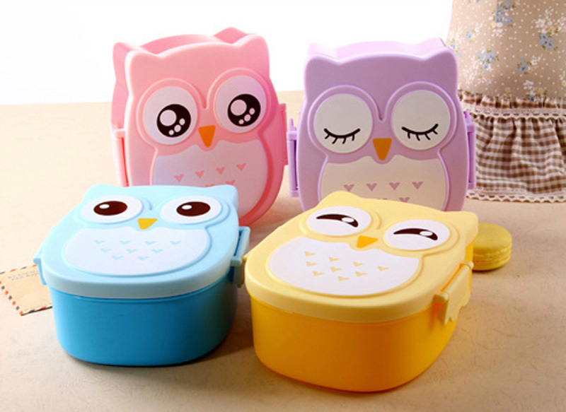 Fun Life Cartoon Cute Owl Bento Lunch Box Food Container Kitchen Accessories Tableware Microwave Lunch Box 4 Style 1050ML(China (Mainland))