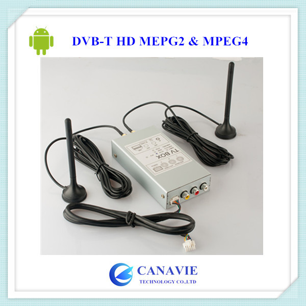 DVB-T HD MEPG2 MPEG4 Digital TV Tuner Receiver Box with Dual Double Two 2 Antennas for Specific Android Car DVD(China (Mainland))