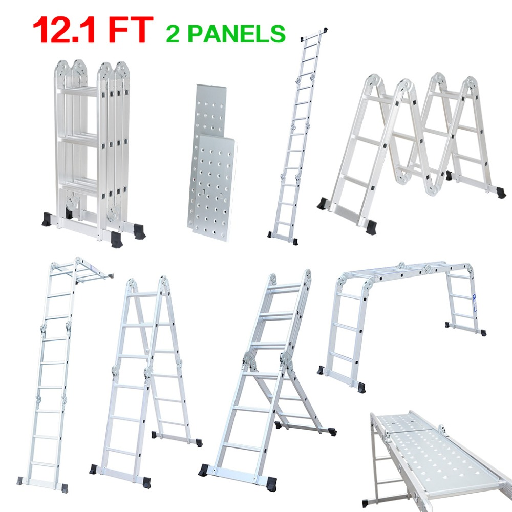 Finether 12.1 FT Folding Ladder with Safety Locking Hinges Heavy Duty Multi-Purpose Extendable Aluminum Ladder 4 Folds 12 Rungs(China (Mainland))