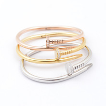 FREE SHIPPING titanium steel 18K Gold silver Nail Bracelet Bangle with crystal diamante Classic with logo(China (Mainland))