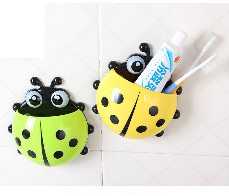 [4color] Cute Creative Lady Beetle Toothbrush Holder Suction Cup Toothbrush Toothpaste Combined Household Toothbrush Set G153(China (Mainland))