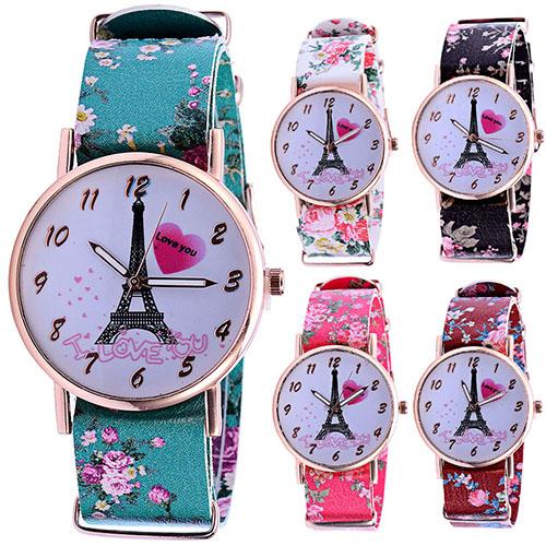 2015 Hot Sale Effiel Tower I Love You Sweet Heart Faux Leather Lover Couple Quartz Wristwatch <br><br>Aliexpress