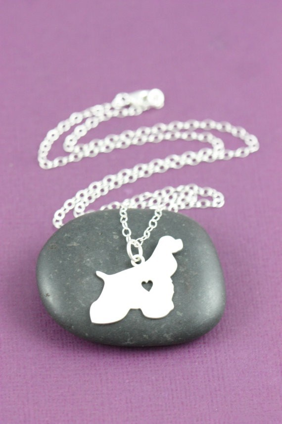 1pcs Natural Cocker Spaniel silver plated dog necklacesPendant Jewelry Breed Pet Personalized Pets Memorial Gift New Puppy