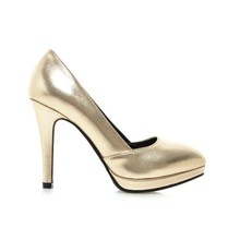 2016 Brand New Sexy Sales Women Platform Nude Pumps Gold Silver Ladies Glossy Dress Shoes EH23 Spike Heels Plus Big Size 43 10(China (Mainland))