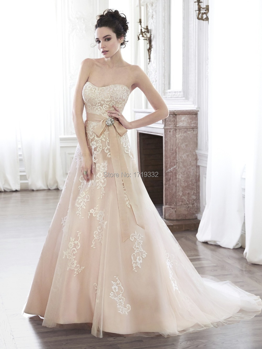 2015 a line sweetheart chapel train tulle crystal sash for Gold wedding dresses plus size